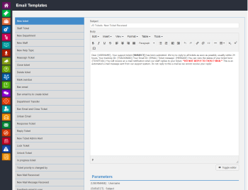 admin email template