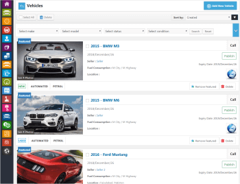 admin vehicle list